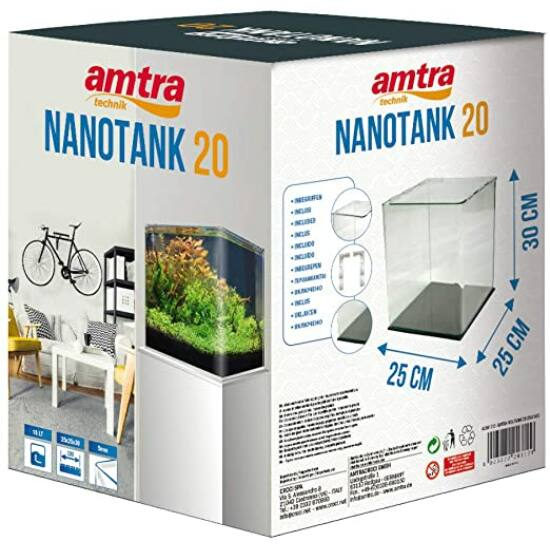 AMTRA NANOTANK 20 (25x25x30cm)  - hajlított élű akvárium, üvegtetővel